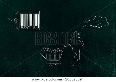 Brand Image And Reputation Conceptual Illustration: Brand Label With Satisfied Customer Holding A Fu