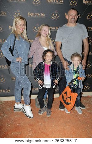 LOS ANGELES - OCT 10:  Chuck Liddell, Heidi Northcott, Brendan Liddell, Trista Liddell at the Nights Of The Jack Halloween n Launch Party at the King Gillette Ranch on October 10, 2018 in Calabasas, C