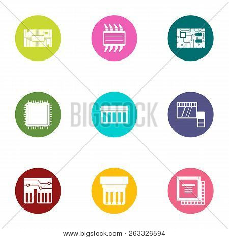Integrated Circuit Icons Set. Flat Set Of 9 Integrated Circuit Vector Icons For Web Isolated On Whit