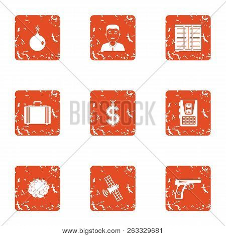 Cash Office Icons Set. Grunge Set Of 9 Cash Office Vector Icons For Web Isolated On White Background