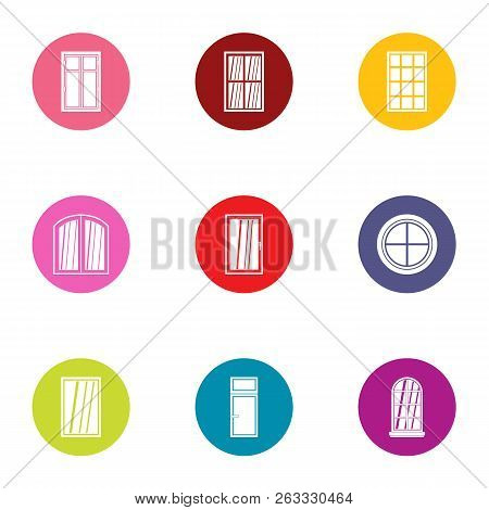 French Door Icons Set. Flat Set Of 9 French Door Vector Icons For Web Isolated On White Background