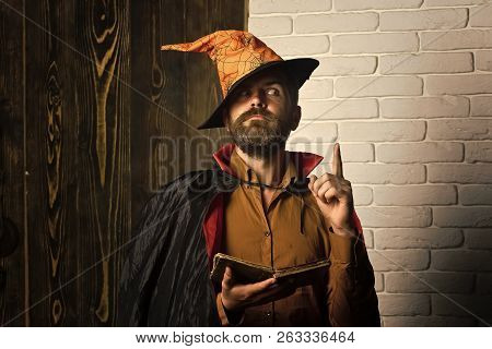 Halloween philosophy, wisdom and knowledge concept. Mystic manuscript and fairytale. Man in witch hat, cloak with raised finger. Magic and evil spell. Wizard reading book on wooden and brick wall. poster