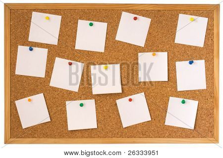 Cork board with pinned white notes isolated on white background