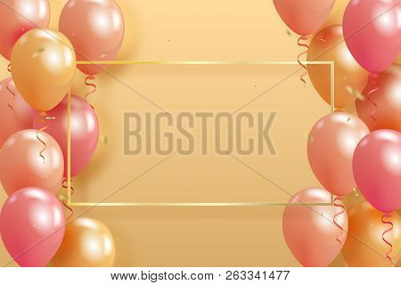Set Of Realistic Pearl Glossy Helium Balloons Floating On Yellow Background And Golden Confetty. Vec