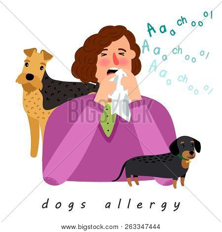 Dog Allergy Woman. Cartoon Girl With Season Allergic Rhinitis, Woman Nose Blowing Dogs Disease React