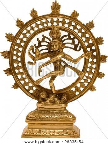 Illustration of Statue of indian hindu god Shiva Nataraja - Lord of Dance isolated on white. Raster. Search similar photos in my portfolio.