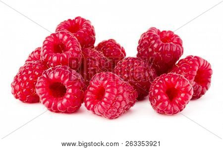 ripe raspberry. Raspberries isolated on white background close up