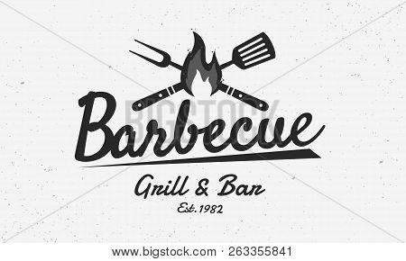 Barbecue Restaurant - Vintage Logo Concept. Logo Of Barbecue, Grill And Bar With Fire, Grill Fork An