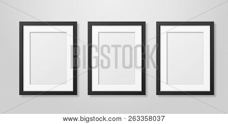 Three Vector Realistic Mofern Interior Black Blank Vertical A4 Wooden Poster Picture Frame Set Close