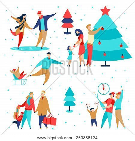 modern cartoon flat characters family winter holidays happy new year concept setflat small