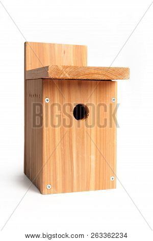 A Diy Wood Birdhouse With White Background