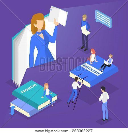 Online Language Courses Concept. Study Foreign Languages