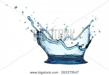 Fresh Blue Water Crown Splash Isolated on White Background. Drink Water Advertising. 3D Illustration.