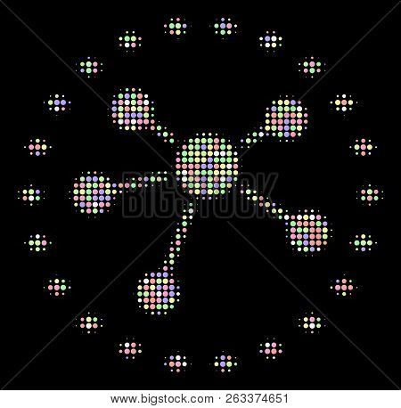 Dotted Links Diagram Composition Of Circle Elements In Soft Color Tones On A Black Background. Vecto