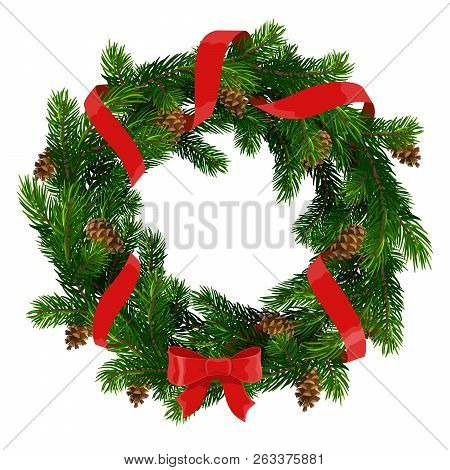 Christmas Wreath Of Xmas And New Year Winter Holidays Decoration. Christmas Tree Round Frame With Re