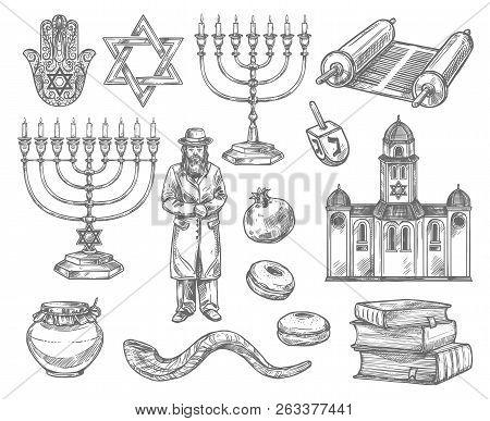 Judaism Religion Sketches With Vector Symbols Of Jewish Holidays. Hanukkah Menorah, Rosh Hashanah Sh