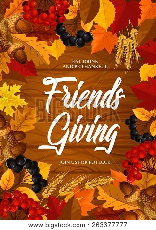Friendsgiving Thanksgiving Holiday Vector Frame With Autumn Leaves, Orange And Yellow Maple Foliage,