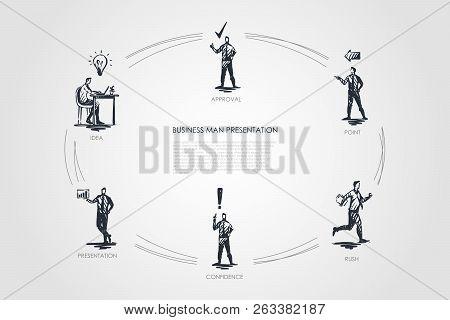 Business Man Presentation - Idea, Presentation, Confidence, Rush, Point, Approval Vector Concept Set