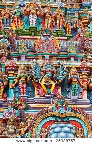 Kali image. Sculptures on Hindu temple gopura (tower). Menakshi Temple, Madurai, Tamil Nadu, India