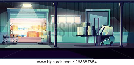 Commercial Warehouse Cartoon Vector With Worker Carrying Cargo With Forklift Truck Through Opened St