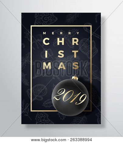 Merry Christmas Abstract Vector Greeting Card, Poster Or Holiday Background. Black On Black And Gold
