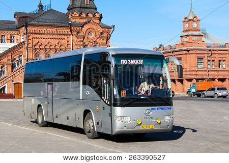 Vladimir, Russia - August 24, 2011: Touristic Coach Bus Higer Klq6129q In The City Street.