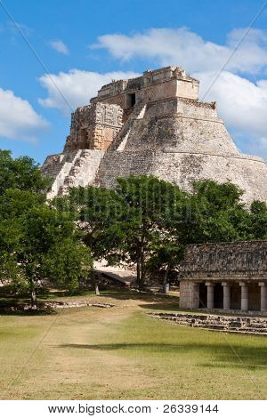 Anicent mayan pyramid (Pyramid of the Magician, Adivino ) in Uxmal, Yucatan, Mexico