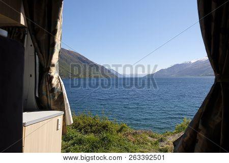 The View From The Open Door Of A Campervan