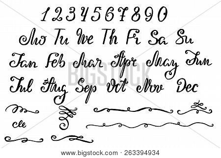 Lettering For Calendar, Planner Or Organizer - All Months And Weekdays In Short Forms, Numbers And D