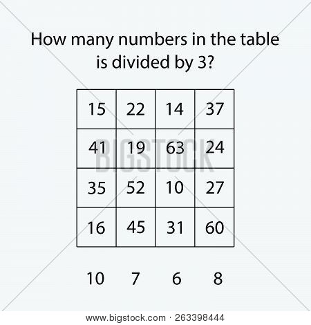 How Many Counting Game With Numbers Divided By 3 For Kids, Educational Maths Task For The Developmen