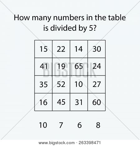 How Many Counting Game With Numbers Divided By 5 For Kids, Educational Maths Task For The Developmen