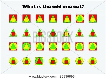 What Is The Odd One Out, Different Colorful Geometric Shapes For Children, Fun Education Game For Ki
