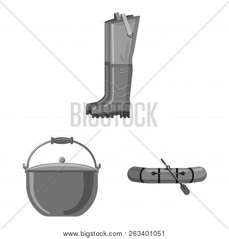 Vector Illustration Of Fish And Fishing Symbol. Collection Of Fish And Equipment Stock Vector Illust