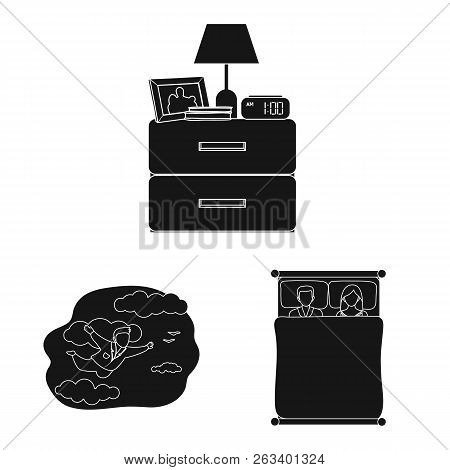 Vector Illustration Of Dreams And Night Sign. Set Of Dreams And Bedroom Stock Symbol For Web.