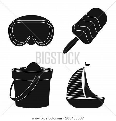 Vector Illustration Of Equipment And Swimming Sign. Set Of Equipment And Activity Stock Vector Illus