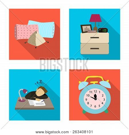 Vector Illustration Of Dreams And Night Icon. Collection Of Dreams And Bedroom Stock Symbol For Web.