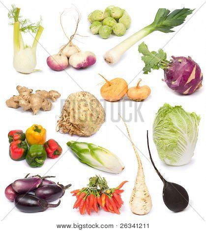 image set of fresh ripe vegetables on white background