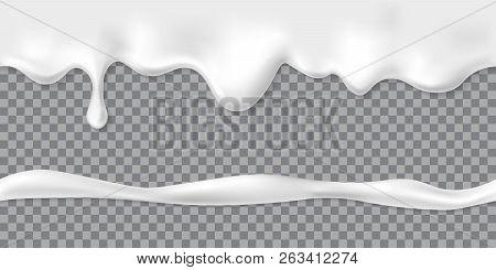 Seamless Dripping White Cream Or Yoghurt Drops. Vector Paint Stain Or Yogurt Splash Illustration For