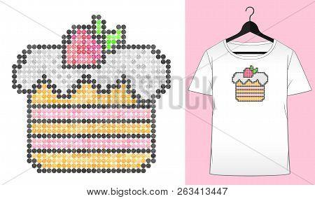 Rhinestones cake. Summer design. Happy birthday. Transfer iron heat ornament. Dessert. Embroidery. T-shirt simple mockup. Rhinestones appligue hot fix. Print for fabric. Fashion trend. poster