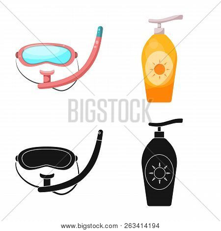 Vector Design Of Pool And Swimming Icon. Set Of Pool And Activity Stock Vector Illustration.