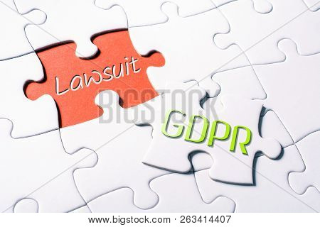 The Words Gdpr And Lawsuit In Missing Piece Jigsaw Puzzle