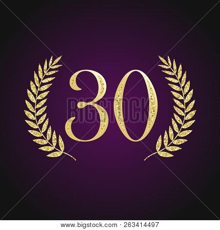 30 Th Years Old Logotype. Isolated Elegant Abstract Nominee Graphic Card Emblem Of 30%. Congratulati