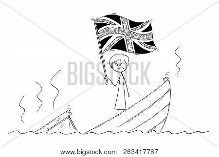 Cartoon Stick Drawing Conceptual Illustration Of Female Or Woman Politician Or Prime Minister Standi