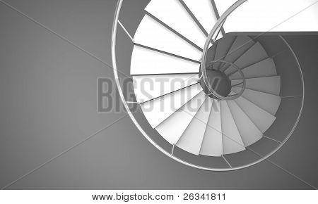 Arch stair on gray floor.