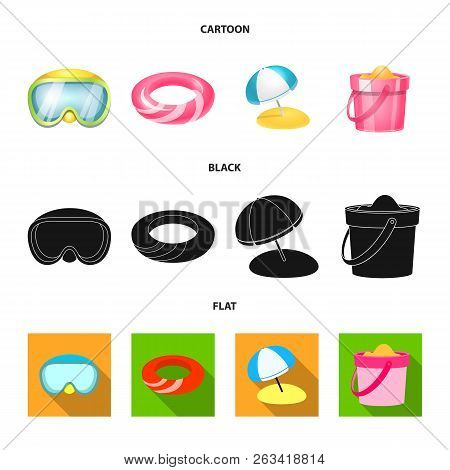 Isolated Object Of Equipment And Swimming Logo. Collection Of Equipment And Activity Stock Vector Il