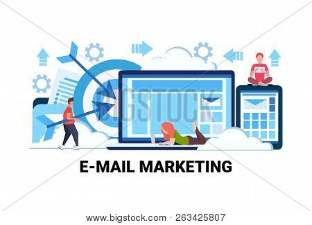 People Using Online Device E-marketing Advertising Campaign Email Marketing Concept Newsletter Subsc