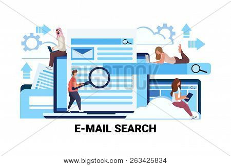 Mix Race People Magnifier Zoom Searching Information Email Search Concept Flat Teamwork Strategy Hor