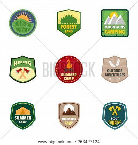 Summer Camp Logo Emblem Set. Flat Set Of 9 Summer Camp Vector Logo Emblem For Web Design