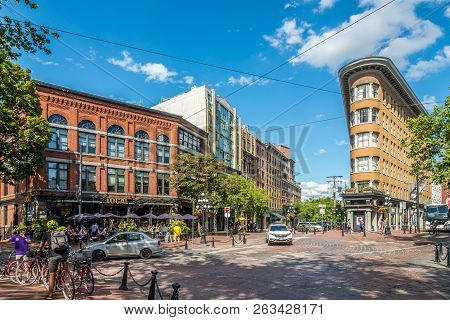 Vancouver,canada - July 6,2018 - View At The Maple Tree Square In Vancouver. Vancouver Is A Coastal