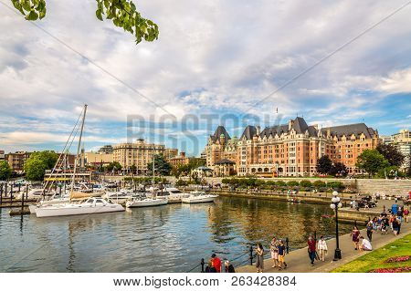 Victoria,canada - July 5,2018 - View At The Harbour Of Victoria City. Victoria Is The Capital Of The